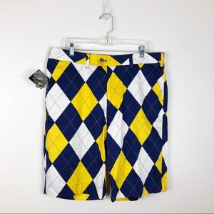 NWT Loudmouth Blue & Gold Argyle Shorts Mens 36